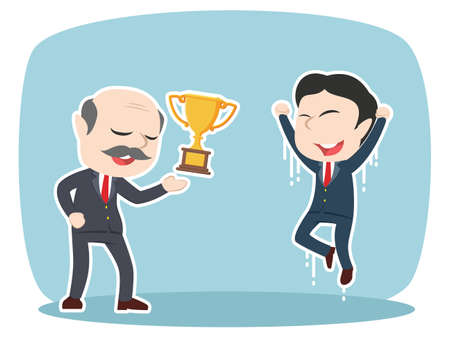 asian boss giving trophy to his male employee