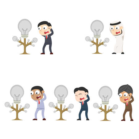 businessman panic got his idea tree died different race set Illustration