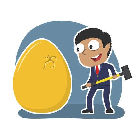 African businessman wanting to break a golden egg