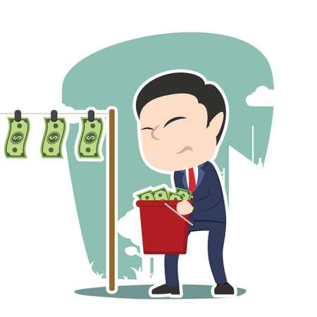 japanese ethnicity: asian businessman drying money