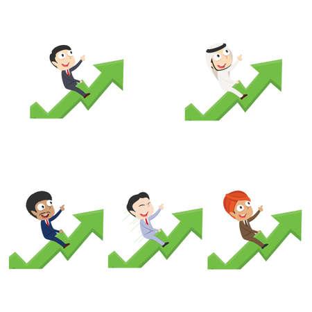 businessman is riding on raised graph different race set Illustration