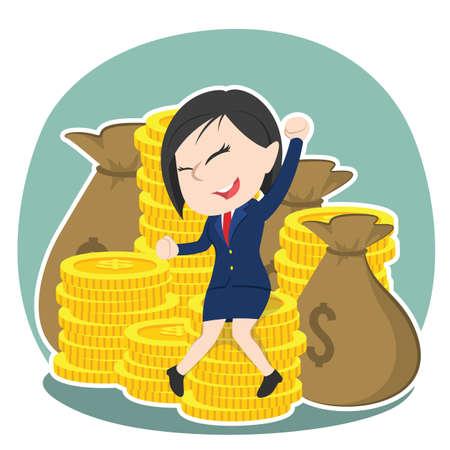 happy asian businesswoman sitting on pile of money Illustration