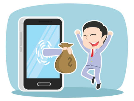 Asian businessman happy to get money from smartphone. Illustration
