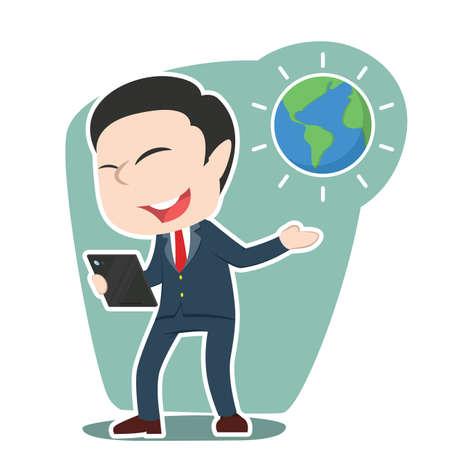 japanese ethnicity: Asian businessman presenting earth globe. Illustration