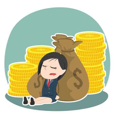 Asian businesswoman sleeping on money.
