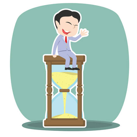 japanese ethnicity: asian businessman is sitting on hourglass