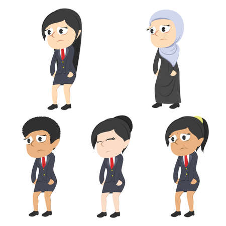 tired businesswoman different race set Illustration