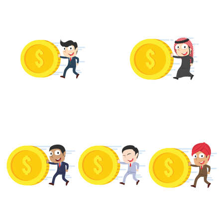businessman pushing coin different race set