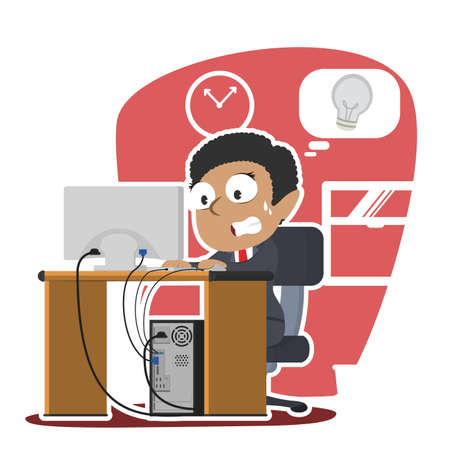 african businesswoman panic running out of idea illustration design Illustration