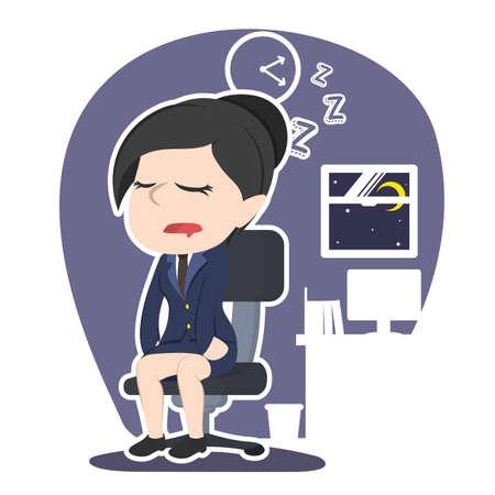 アジアの実業家落下眠っているイラスト デザイン