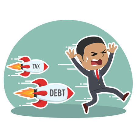 african businessman being chased by tax debt rocket