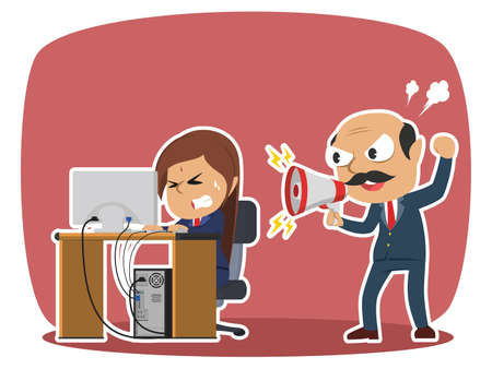indian boss yelling to his stressed female employee Illustration
