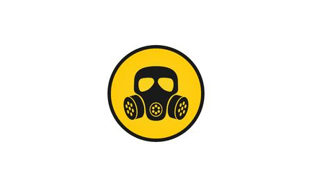 Gas mask grunge vector icon,Respirator face gas mask for air breathing apparatus sign