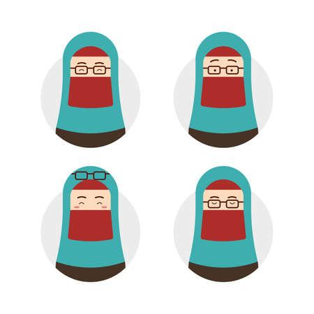 blue tosca niqab hijab hijaber wear eyeglasses avatar with face expression set illustration Illustration