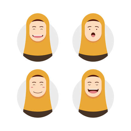 Yellow hijab hijaber avatar with face expression set illustration
