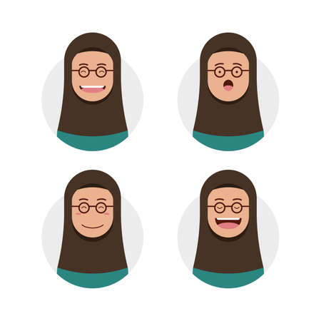 Brown skin hijab hijaber wears round eyeglasses avatar photo with face expression set illustration Vectores