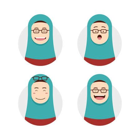 Blue tosca hijab hijaber wears eyeglasses avatar photo with face expression set illustration