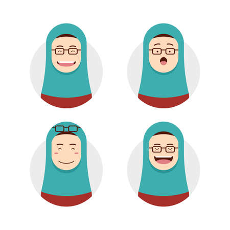 Blue tosca hijab hijaber wears eyeglasses avatar photo with face expression set illustration