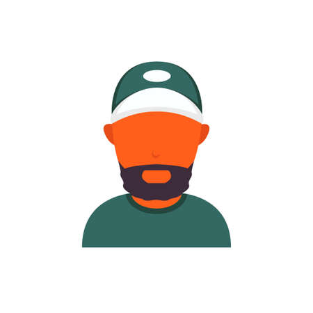 Orange or black skin avatar with beard and baseball cap