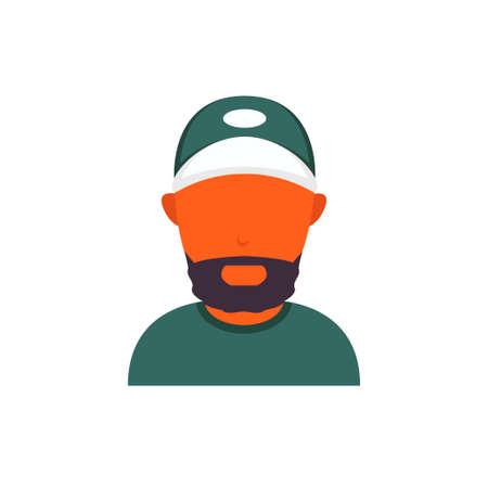 Orange or black skin avatar with beard and baseball cap