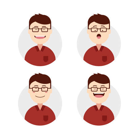 cute face male man wears eyeglasses avatar with face expression set illustration Illustration