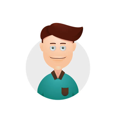 Seduce Lazy tired sleepy eyes expression young male avatar illustration icon download