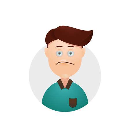 Upleased upset sad young male boy avatar Illustration