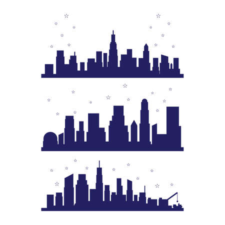 Set of metropolis city silhouette with fireworks celebration vector illustration element