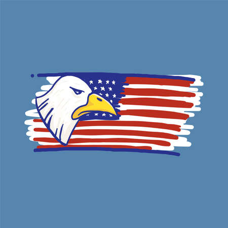 Eagle and american flag red white blue in doodle sketch drawing vector