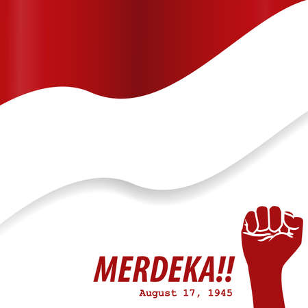 Merdeka 17 Agustus indonesia independence day flag and hand