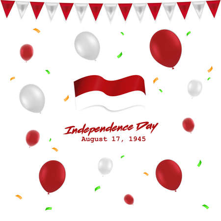 Independece day 17 August Indonesia with red white baloon, flag , and ribbon