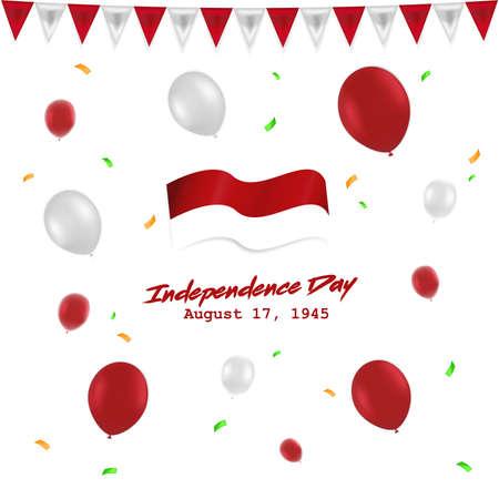 Día de la independencia 17 de agosto de Indonesia con globo rojo blanco, bandera y cinta Ilustración de vector