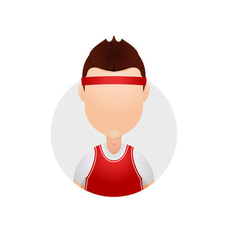 Basketball player with red jersey shirt and headband avatar character icon illustration