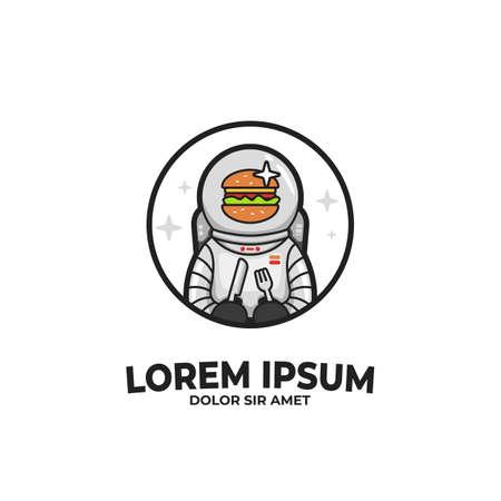 Burger astronauta cibo illustrazione di caratteri. Burgernaut personaggio mascotte logo icona distintivo Logo