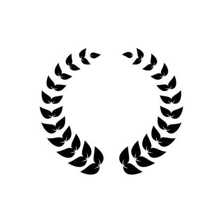 Black round wreath of laurel leaves for awards decoration
