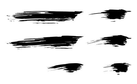 Set of Dirty Dry black paint ink brush stroke graphic element collection Illustration