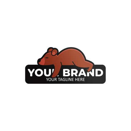 Lazy Bear Logo Icon Abzeichen. Bär, der auf einer Steinillustration schläft