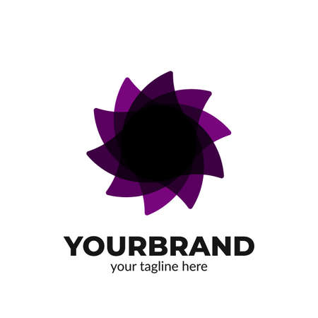 Abstract layer violet petals flower logo icon symbol modern style