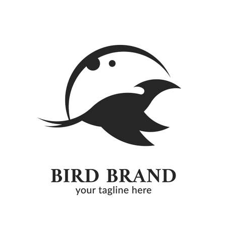 Night Moon Bird silhouette icon brand illustration Illustration