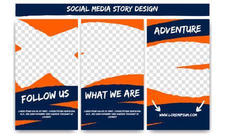 Editable social media story for action adventure in orange blue color. Streaming post social media template frame with brush stroke shape Vektorové ilustrace