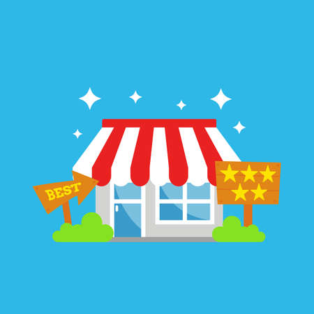 Best shop store of the month with five stars and recommended illustration icon Illustration