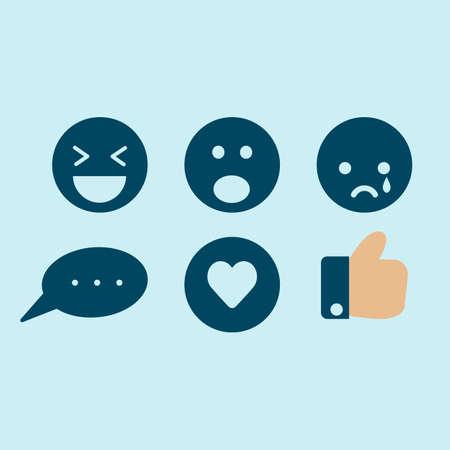 Conjunto de icono de emoción de reacción de redes sociales. Me gusta, amar, comentar, triste, conmocionar, asombrar y reír Ilustración de vector
