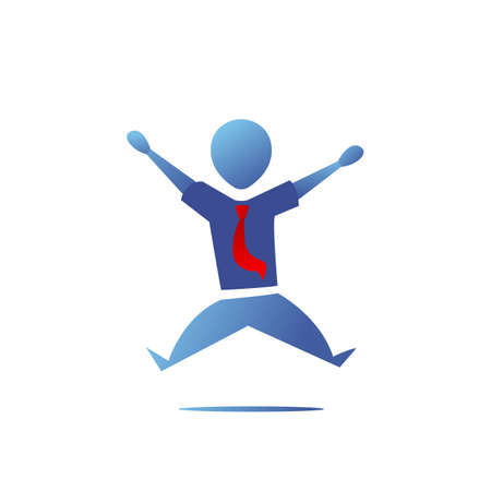 Blue Gradient Silhouette office worker man happy jump action pose illustration