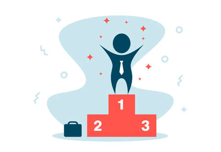 Silhouette Business man winning stand on winner podium on first rank illustration