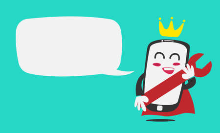 King modern touch screen mobile phone repair mascot character with bubble speech template Illustration