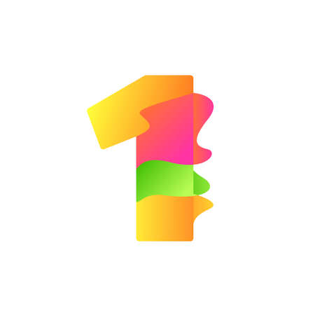 Number 1 character in fluid art style gradient illustration icon