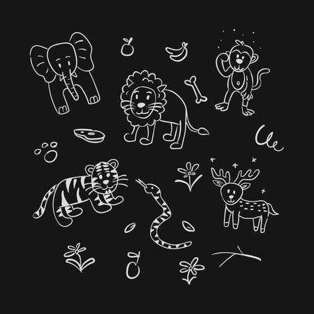 set animal hand drawing doodle illustration set Illustration