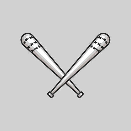 Badass crossed steel spiked baseball bats. Violent Baseball bats with spike vector illustration Stock Illustratie