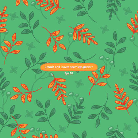 Branch with leaves on green background cartoony seamless pattern