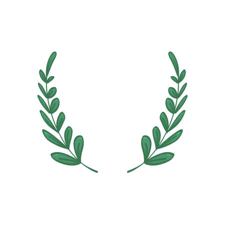 Green cartoon handrawing leaf laurel wreath